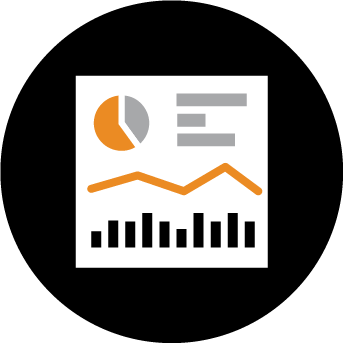 online qual chart icon orange and black